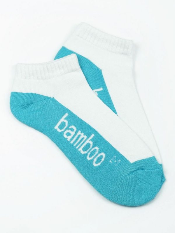 Bamboo Cushion Anklet Socks – White/Aqua