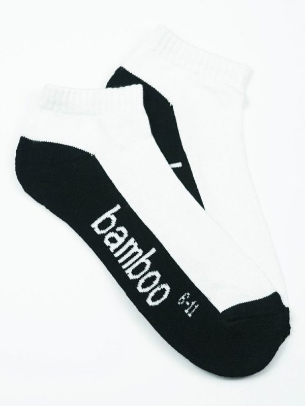 Bamboo Cushion Anklet Socks – White/Black