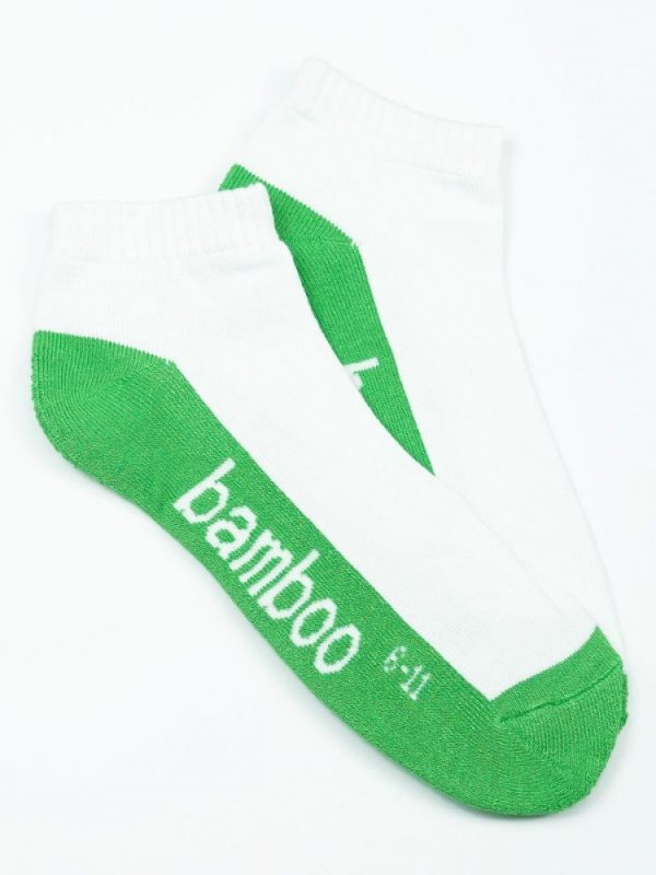 Bamboo Cushion Anklet Socks – White/Green