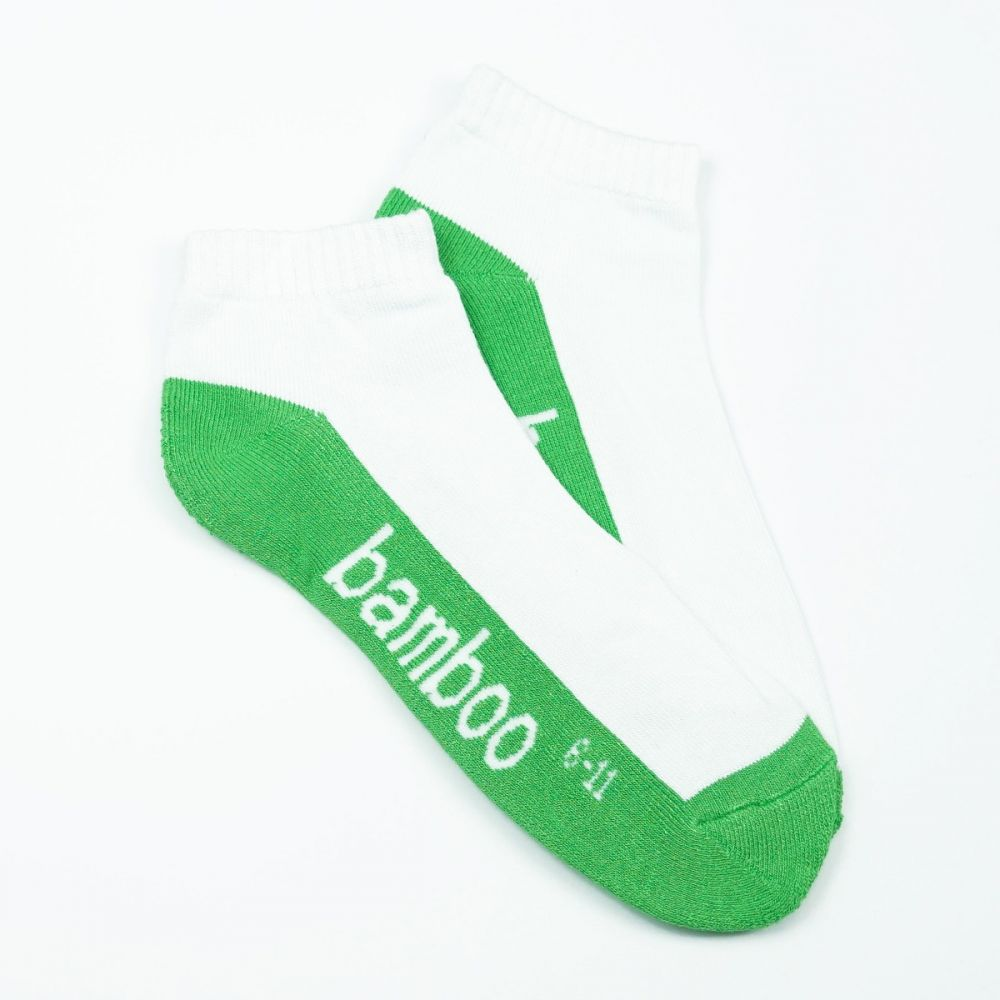 Bamboo Cushion Anklet Socks - White/Green