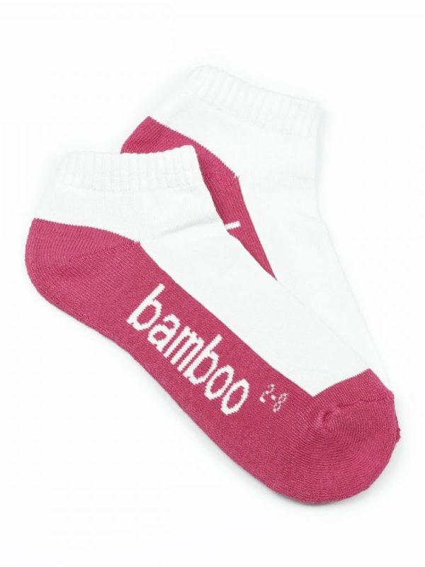 Bamboo Cushion Anklet Socks – White/Hot Pink
