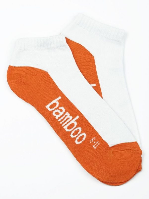 Bamboo Cushion Anklet Socks – White/Orange