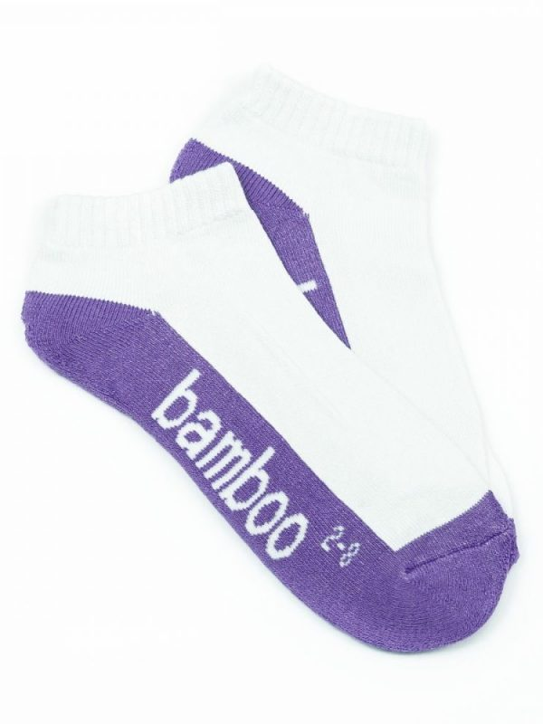 Bamboo Cushion Anklet Socks – White/Purple