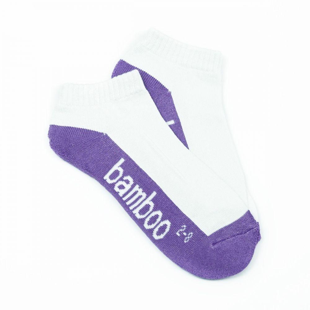 Bamboo Cushion Anklet Socks - White/Purple