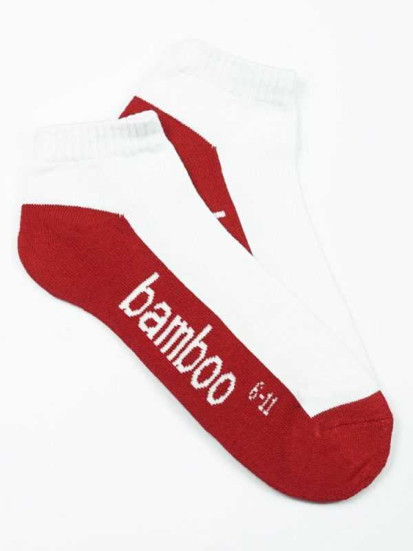 Bamboo Cushion Anklet Socks – White/Red