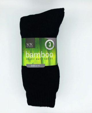 Bamboo Heavy Duty Socks – 3 Pairs Pack – Black