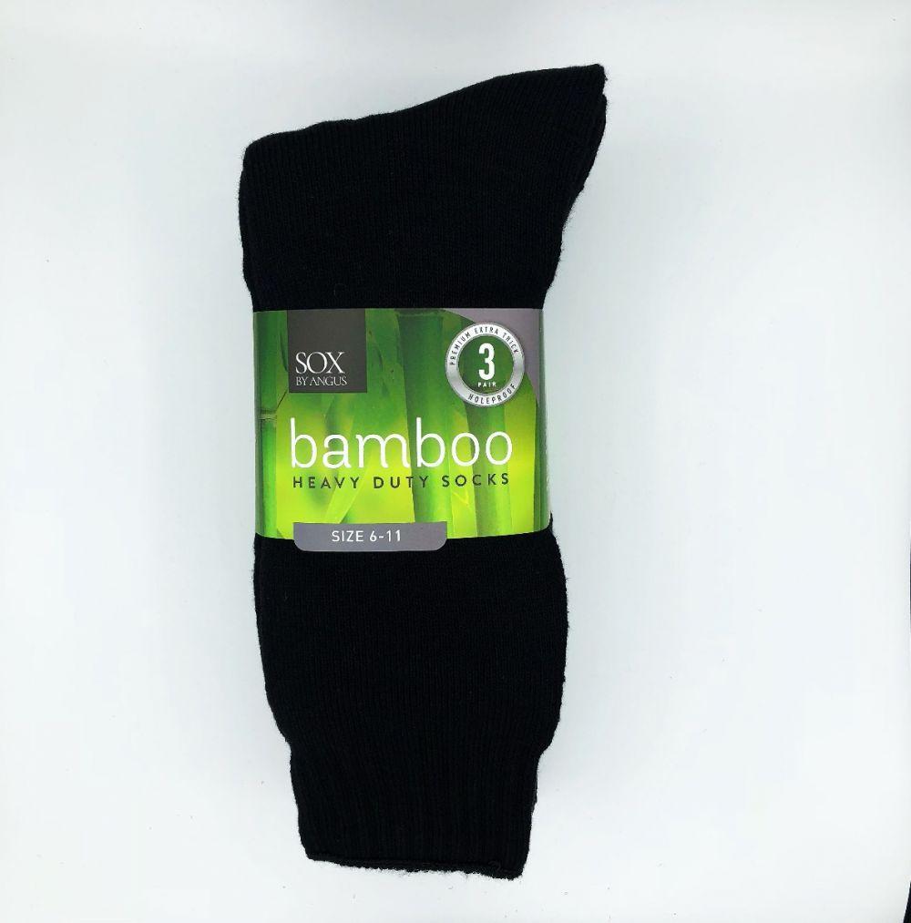 Bamboo Heavy Duty Socks - 3 Pairs Pack - Black