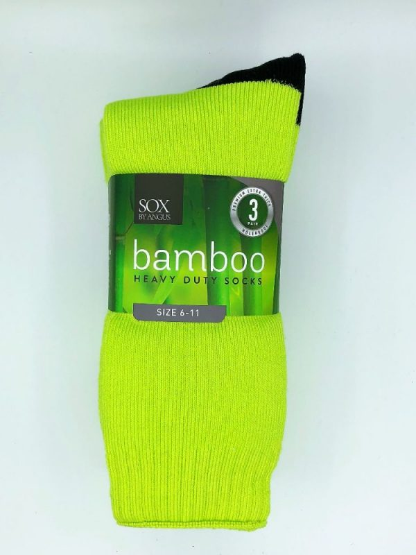 Bamboo Heavy Duty Socks – 3 Pairs Pack – Fluoro Lime/Black