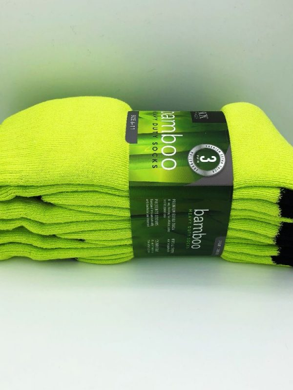 Bamboo Heavy Duty Socks - 3 Pairs Pack - Fluoro Lime/Black