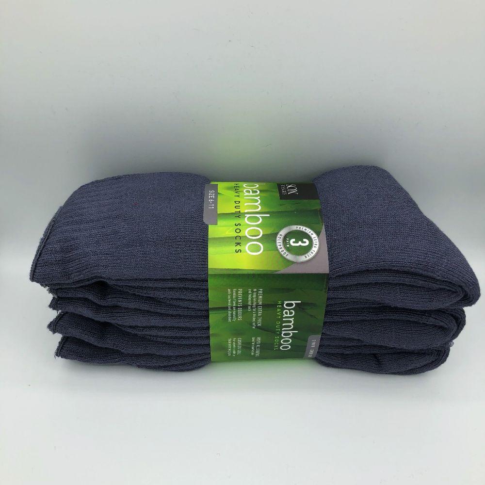 Bamboo Heavy Duty Socks - 3 Pairs Pack - Grey