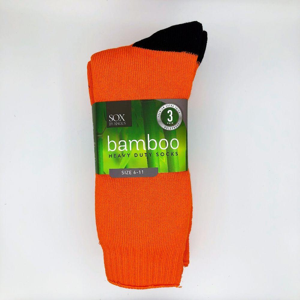 Bamboo Heavy Duty Socks - 3 Pairs Pack - Fluoro Orange/Black