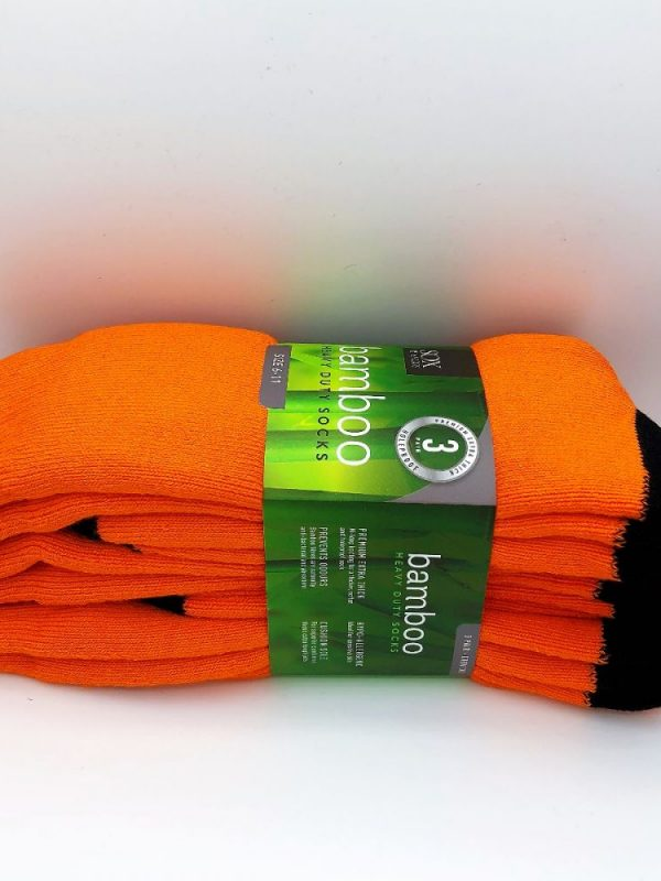 Bamboo Heavy Duty Socks - 3 Pairs Pack - Orange/Black