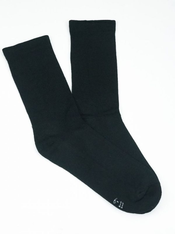 Bamboo Plain Cushion Foot Loose Top Socks – Black