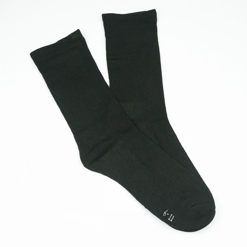 Bamboo Plain Cushion Foot Loose Top Socks Brown