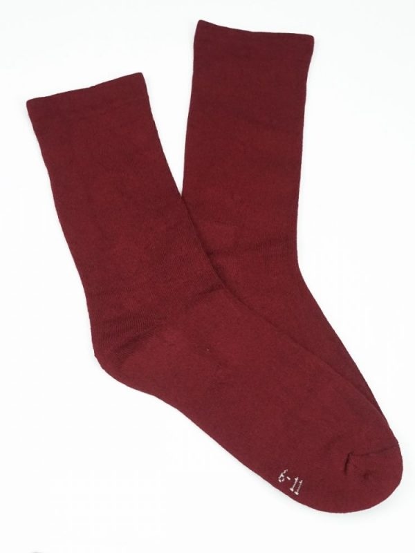 Bamboo Plain Cushion Foot Loose Top Socks – Burgundy