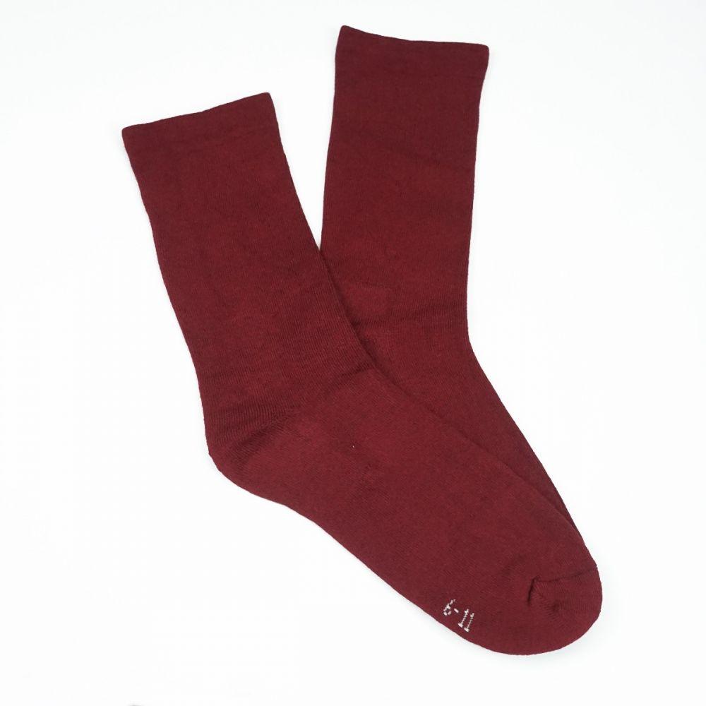 Bamboo Plain Cushion Foot Loose Top Socks - Burgundy