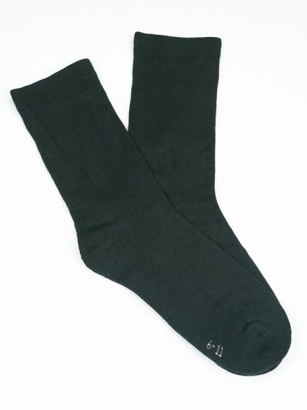 Bamboo Plain Cushion Foot Loose Top Socks – Charcoal