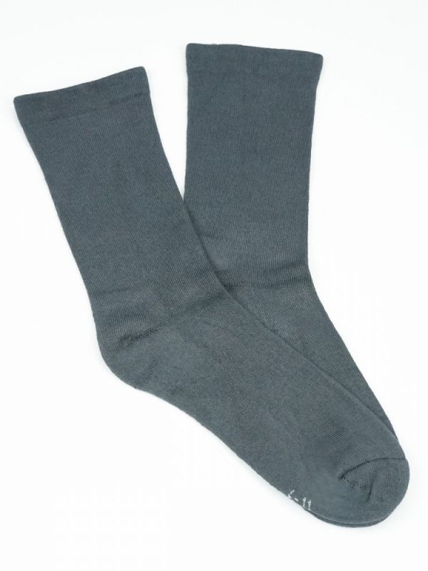 Bamboo Plain Cushion Foot Loose Top Socks – Grey