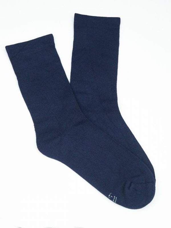 Bamboo Plain Cushion Foot Loose Top Socks – Navy Blue