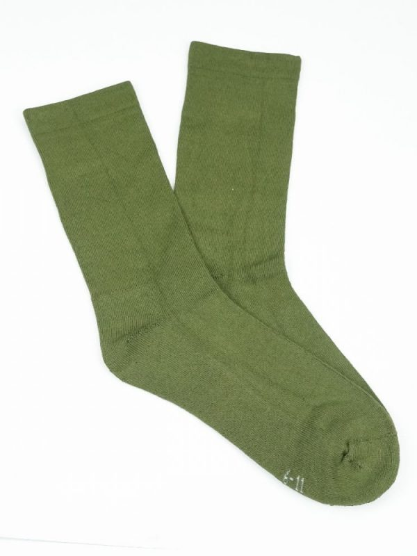 Bamboo Plain Cushion Foot Loose Top Socks – Olive