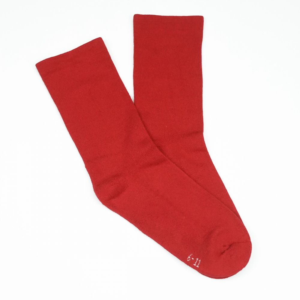 Bamboo Plain Cushion Foot Loose Top Socks Red