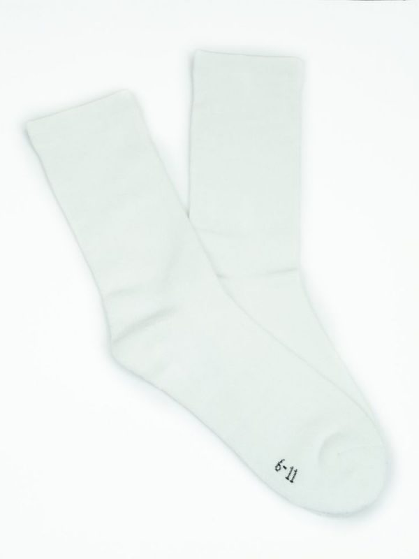 Bamboo Plain Cushion Foot Loose Top Socks – White
