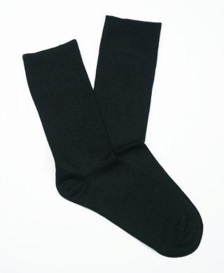 Bamboo Plain Loose Top Socks – Black