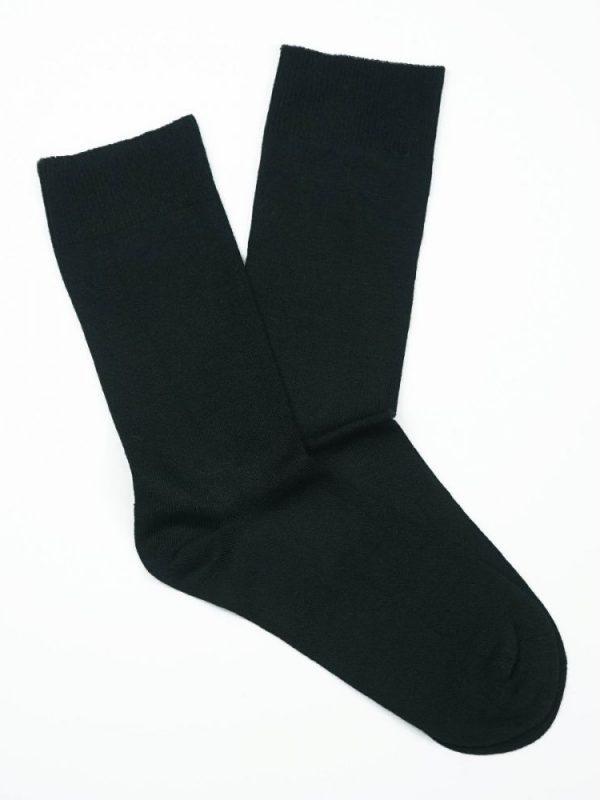 Bamboo Plain Loose Top Socks Black