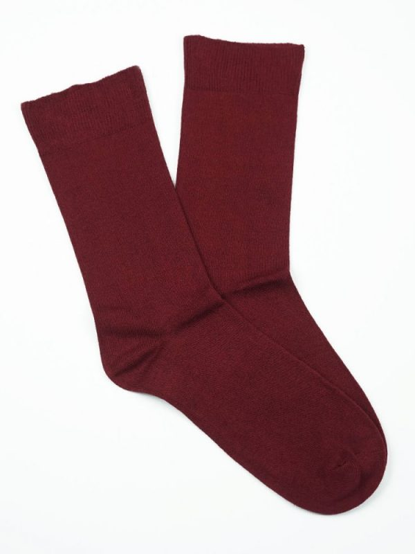 Bamboo Plain Loose Top Socks – Burgundy