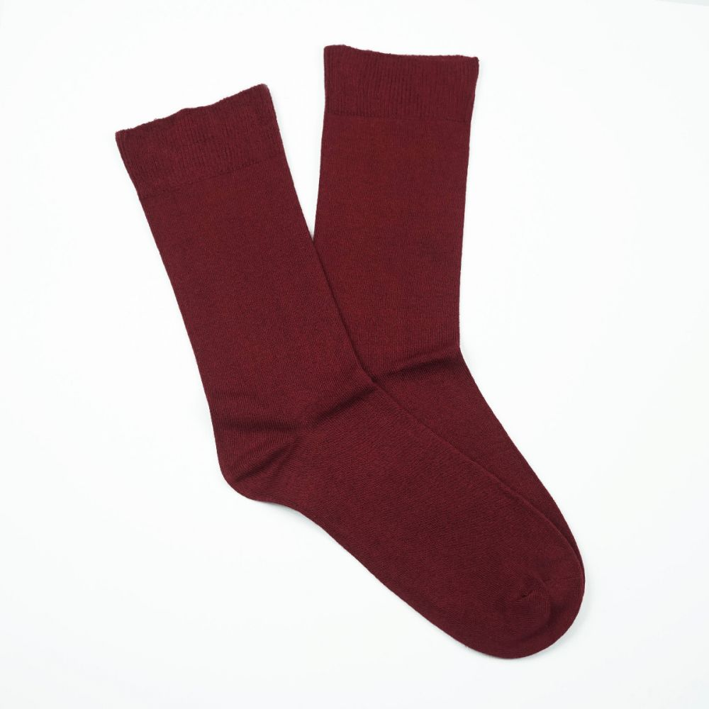 Bamboo Plain Loose Top Socks - Burgundy