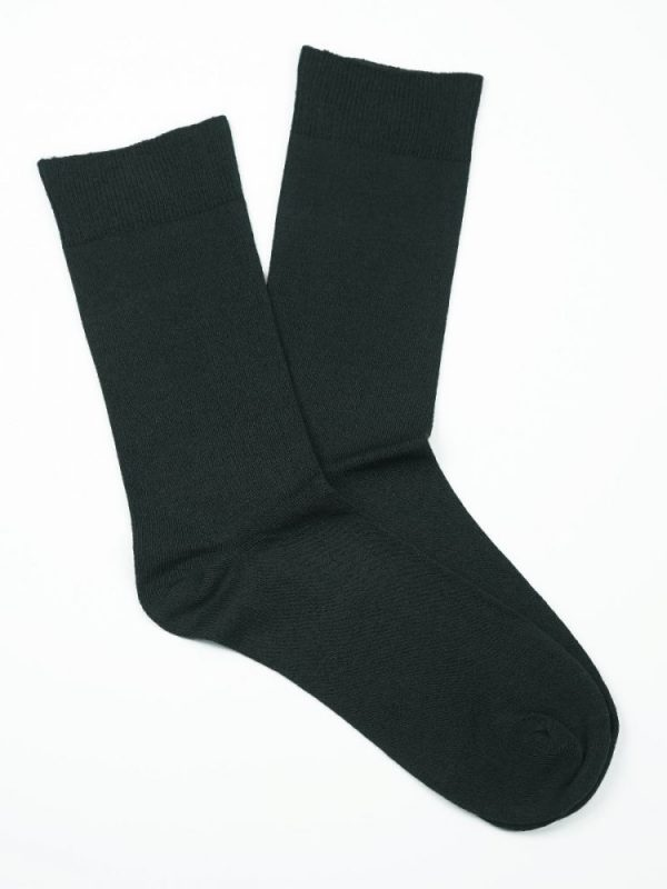 Bamboo Plain Loose Top Socks – Charcoal