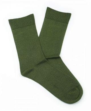Bamboo Plain Loose Top Socks – Khaki Green