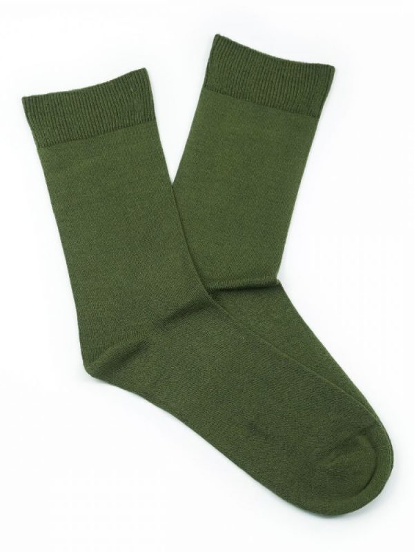 Bamboo Plain Loose Top Socks – Khaki Green