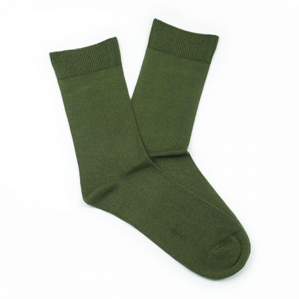 Bamboo Plain Loose Top Socks - Khaki Green