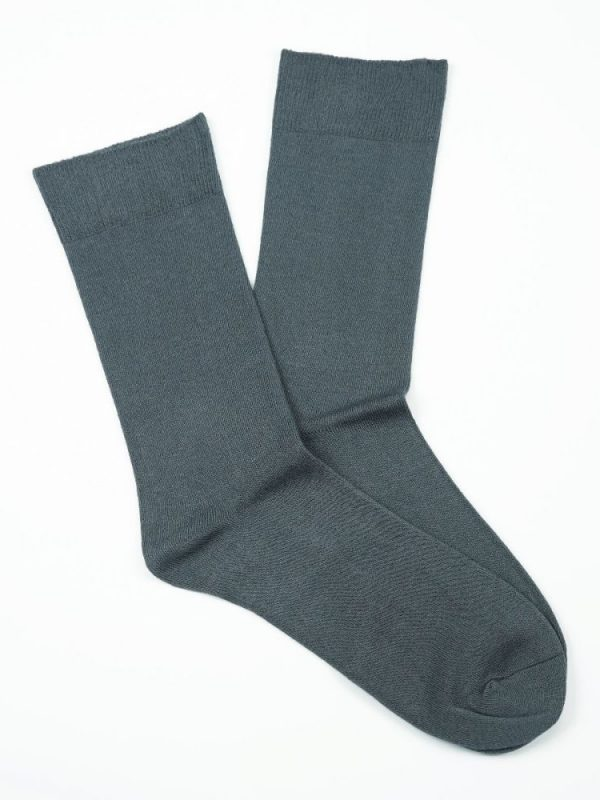 Bamboo Plain Loose Top Socks – Grey