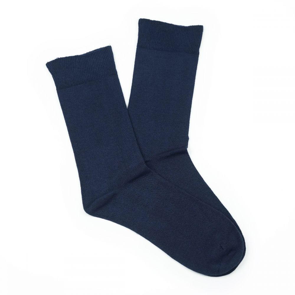 Bamboo Plain Loose Top Socks Navy