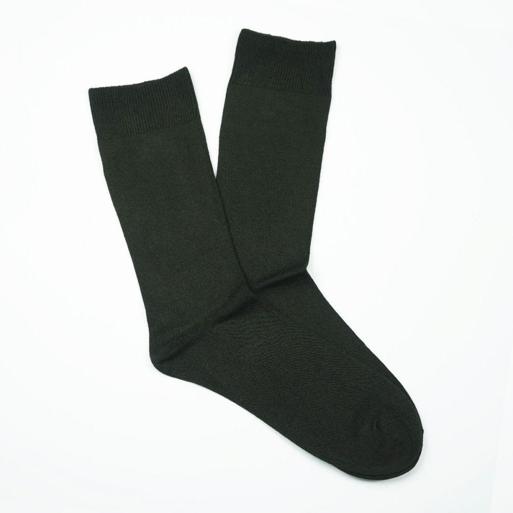 Bamboo Plain Loose Top Socks Olive