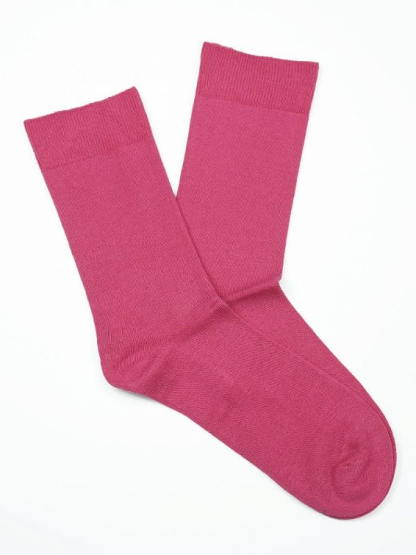 Bamboo Plain Loose Top Socks – Pink