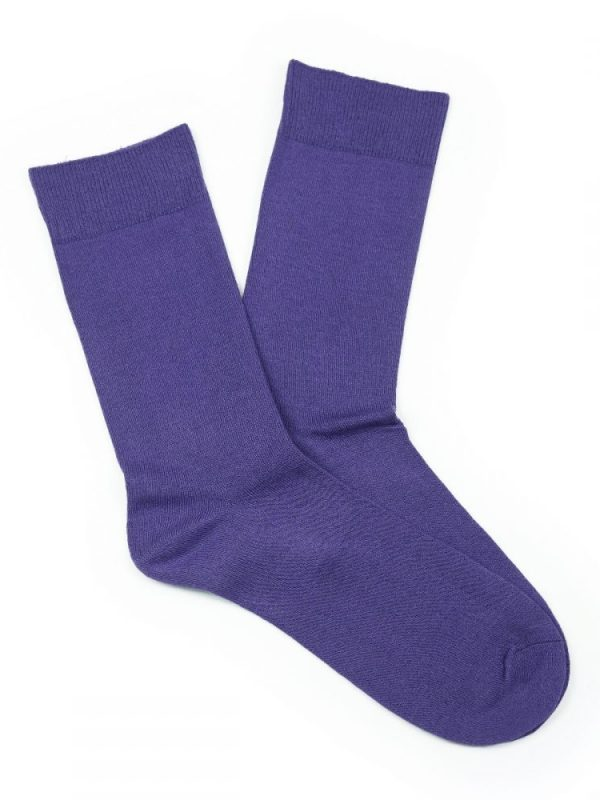 Bamboo Plain Loose Top Socks – Purple