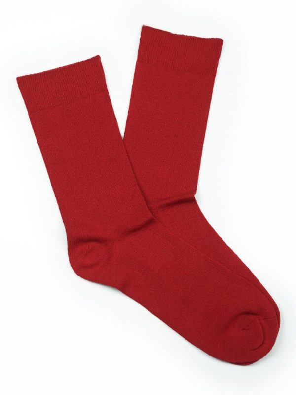 Bamboo Plain Loose Top Socks – Red