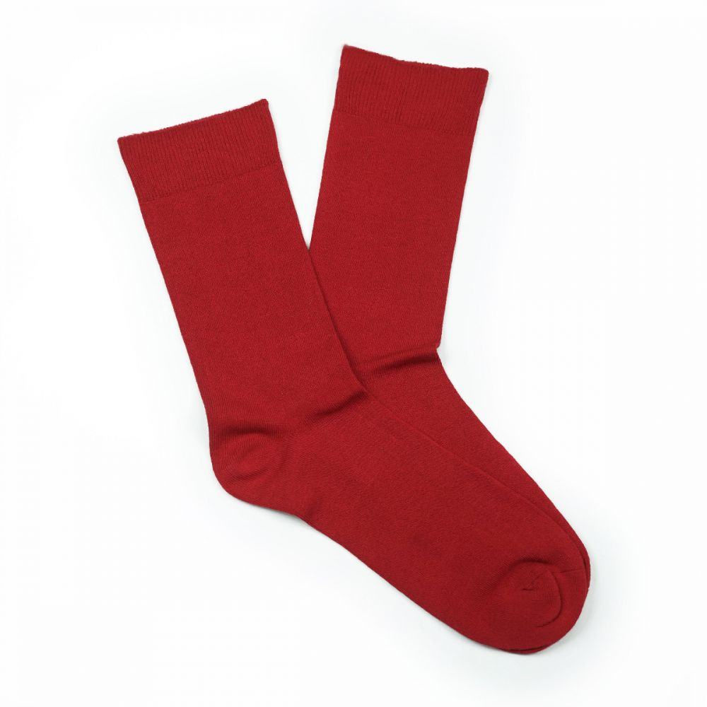 Bamboo Plain Loose Top Socks Red
