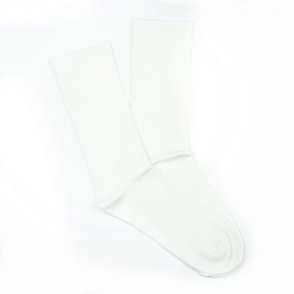 Bamboo Plain Loose Top Socks White