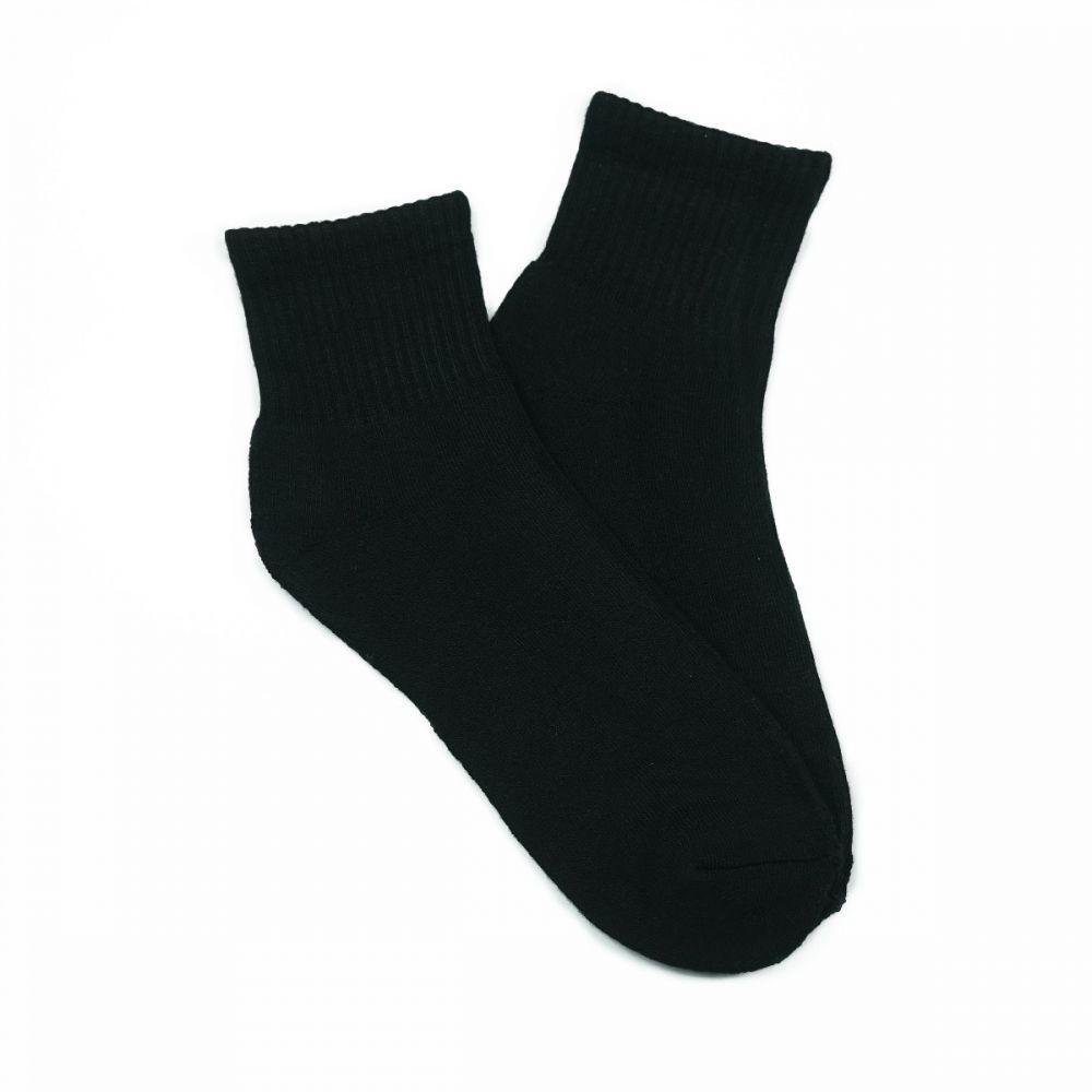 Bamboo Quarter Crew Cushion Socks - Black