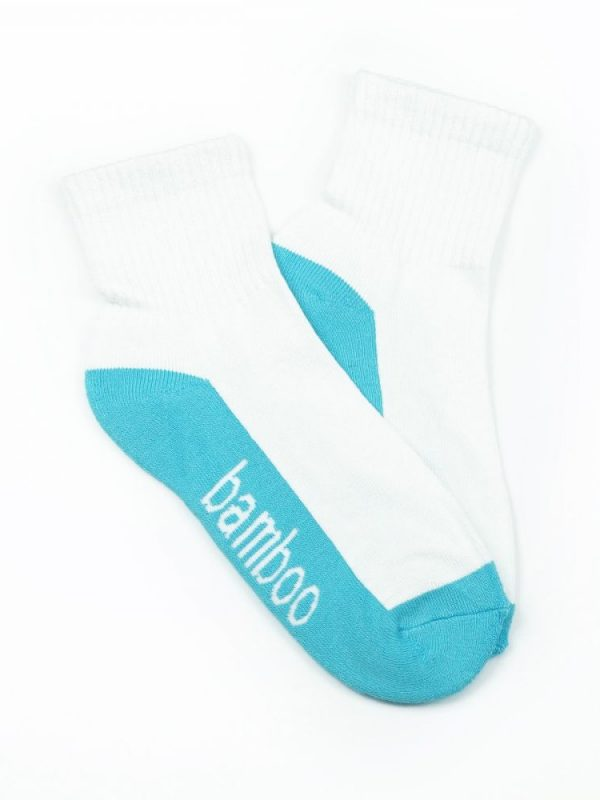 Bamboo Quarter Crew Cushion Socks – White/Aqua
