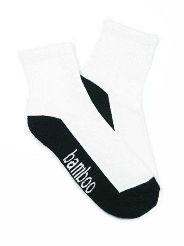 Bamboo Quarter Crew Cushion Socks – White/Black