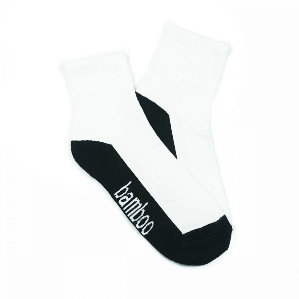 Bamboo Quarter Crew Cushion Socks - White/Black