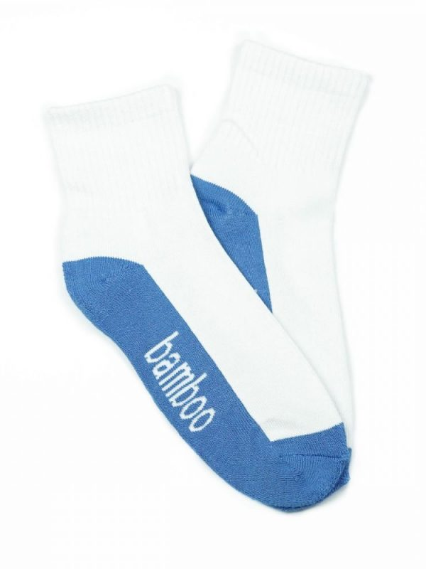 Bamboo Quarter Crew Cushion Socks – White/Blue