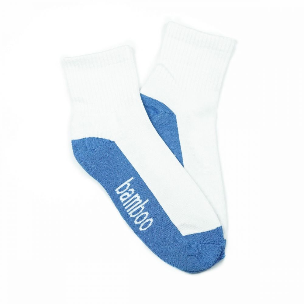 Bamboo Quarter Crew Cushion Socks - White/Blue