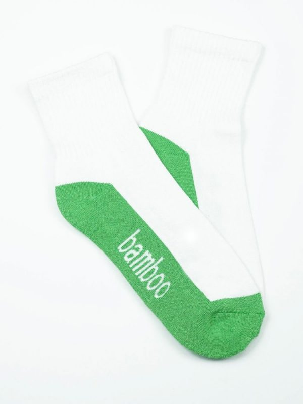 Bamboo Quarter Crew Cushion Socks – White/Green