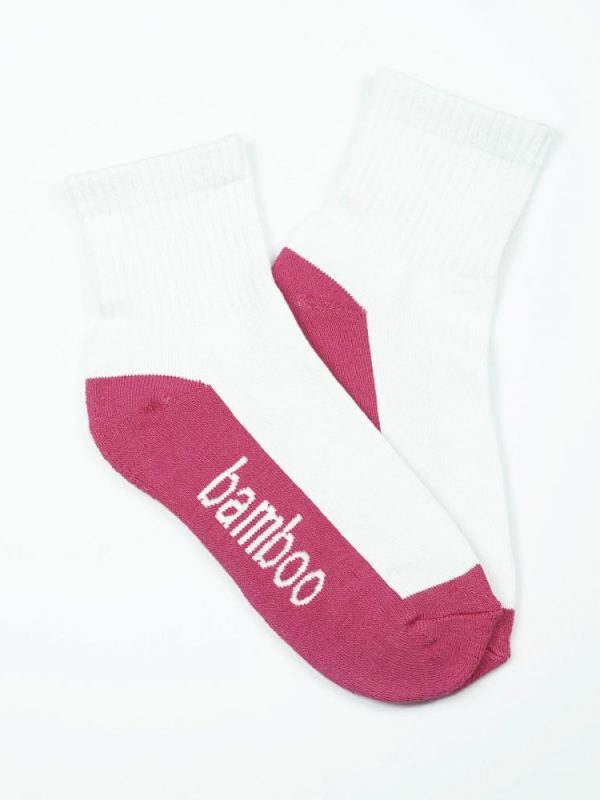 Bamboo Quarter Crew Cushion Socks – White/Hot Pink